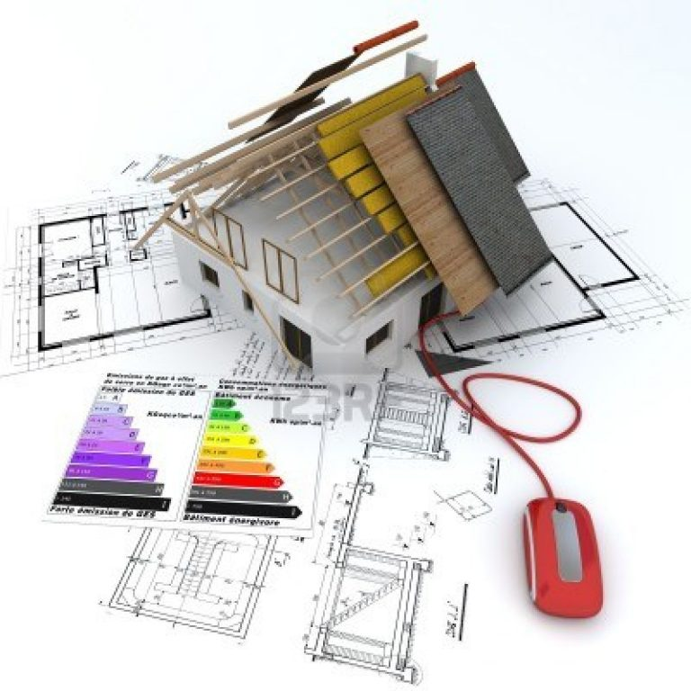 9522600-3d-rendering-of-a-house-in-construction-connected-to-a-computer-mouse--on-top-of-blueprints-with-and
